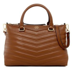 [Vince Camuto] Dk Brown Leather Satchel Purse Bag